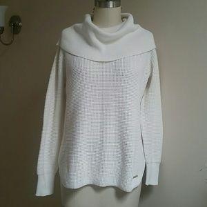 Michael Kors Cowl Neck Waffle Knit Sweater L